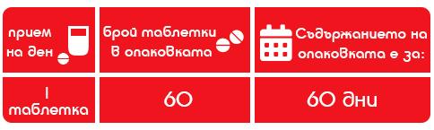60 бр. таблетки Съдържанието на опаковката е за 60 дни по 1 таблетка на ден
